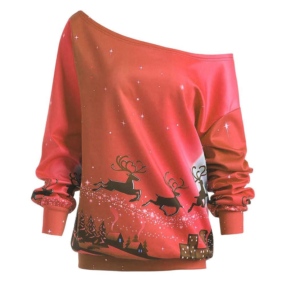 conqueror Sweat à Capuche Femme Noël père Noël imprimé Wapiti Sweatshirt de Noël Pulls Manche Longue Blouse Grande Taille Tops Décontractée Femmes Pullover Imprimé Blazer Cou Asymétrique
