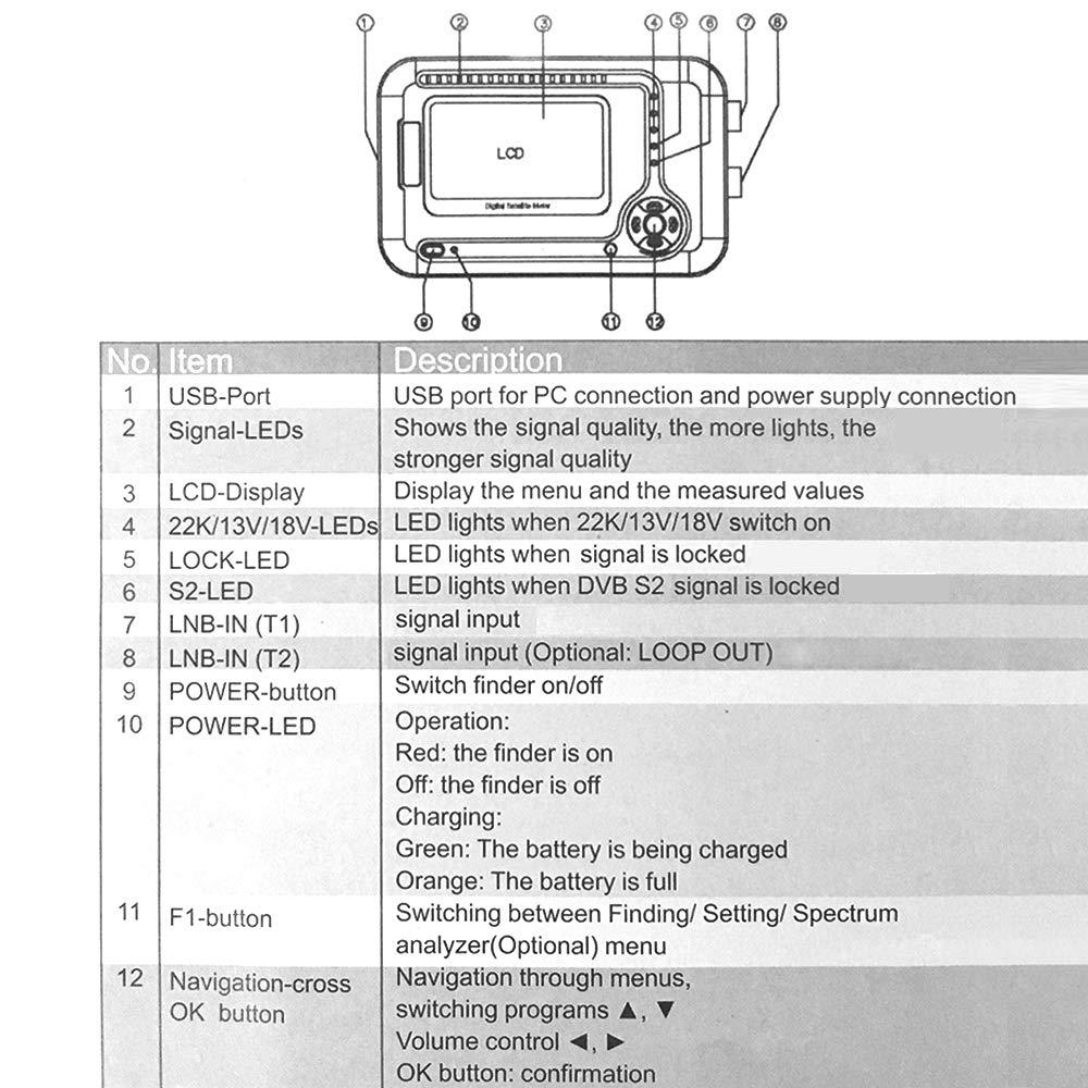Docooler SATHERO SH-200HD Global Universal TV Buscador de señal Metro DVB-S / S2 HD Digital Meter MPEG-4 22KHz 13V / 18V con Pantalla LCD de 2.5 Pulgadas ...