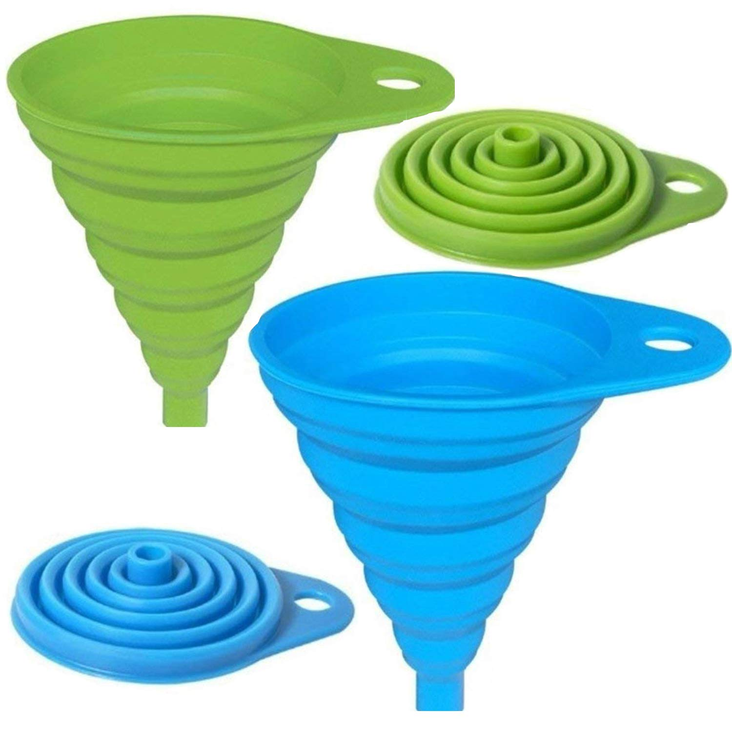 AxeSickle Silicone Collapsible Funnel 2pcs Folding Funnel for Liquid Transfer As Oil, Water, Shampoo, Sanitizer, Kitchen Tool Gadget 100% Food Grade Silicone FDA Approved.(green,Blue)