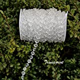 hanging cake stand - 98Ft Acrylic Crystal Hanging Beads String for Wedding,Chandelier,Christmas Party Decorations,1 Roll,Clear