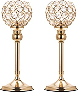 "ManChDa Valentines Gift Set of 2 Gold Crystal Bowl Candle Holder for Dining Room Flange Decorative Centerpieces Modern House Decor Gifts for Anniversary Celebration (Small, 11.8"")"