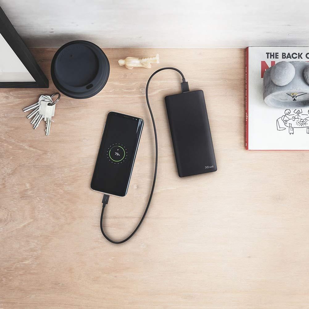 Trust Urban Primo Sottile Powerbank con 2 Porte USB e Batteria da 10.000 mAh