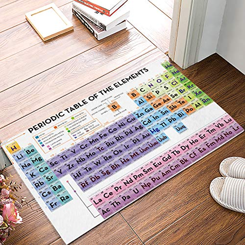 Family Decor Low-Profile Rug Door Mat Periodic Table of Elements Doormats for Bathroom/Entrance Front Door/Kitchen Rubber Non-Slip 23.6 x 15.7 Inch