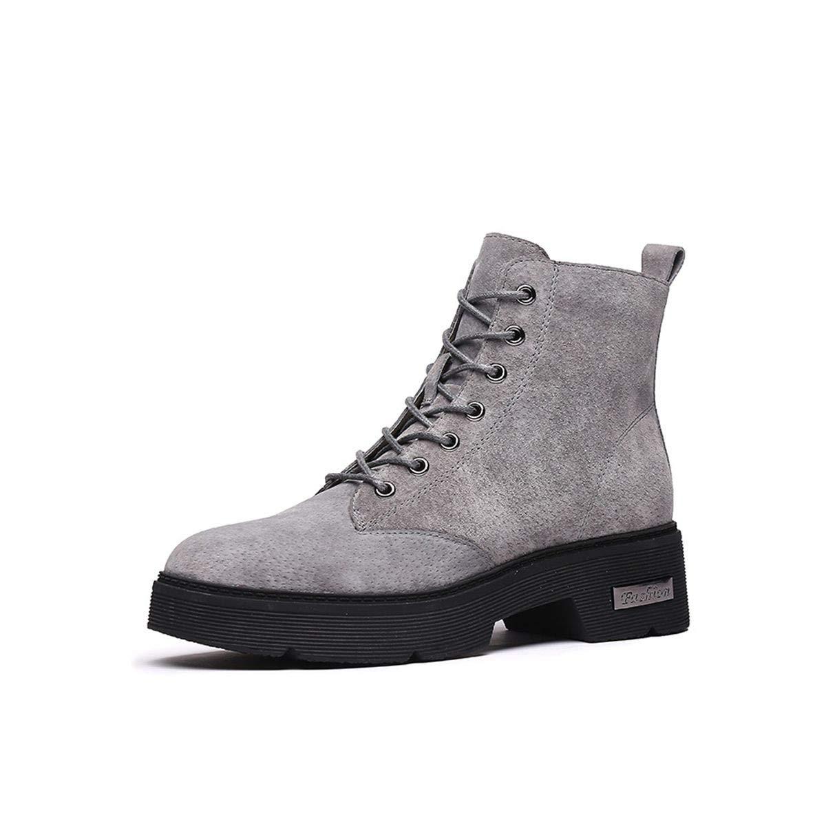 SIKESONG Inverno Stivali Stivali Stivali Donna Calda Felpa Lace-Up Piattaforma Piatta Scarpe Moda Grigio Stivali di Martin Grigio 36 f4f616