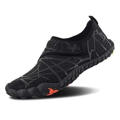 46d1f3313315de FEIFAN Men Women Water Shoes Quick Dry Adult Beach Swim Barefoot  Lightweight Water Shoes Black 01