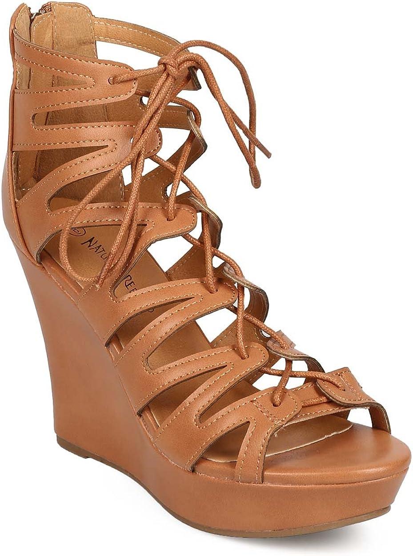 Women Leatherette Peep Toe Lace Up Gladiator Wedge Sandal EE37 Tan