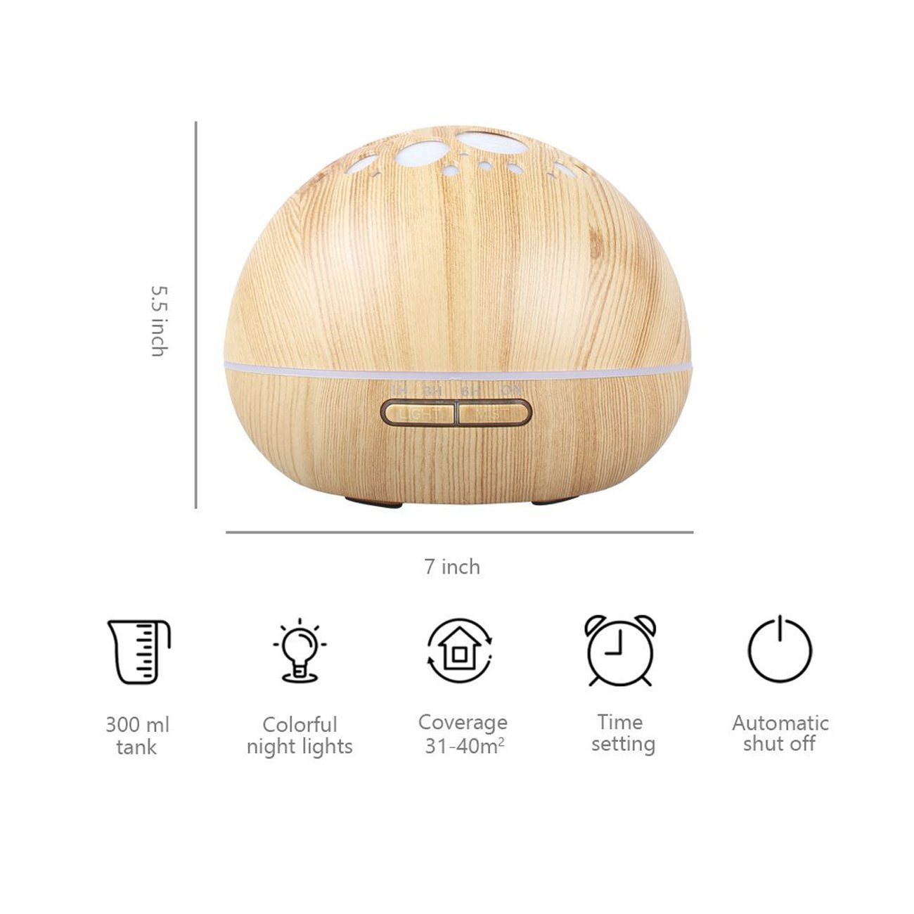 Aroma Essential Oil Diffuser Ultrasonic Cool Mist Humidifier with Adjustable Mist Mode 7 Color LED Lights and Waterless Auto Power-off for Office Home Study Yoga Spa 300ml (Light Wood) by RSL (Image #3)