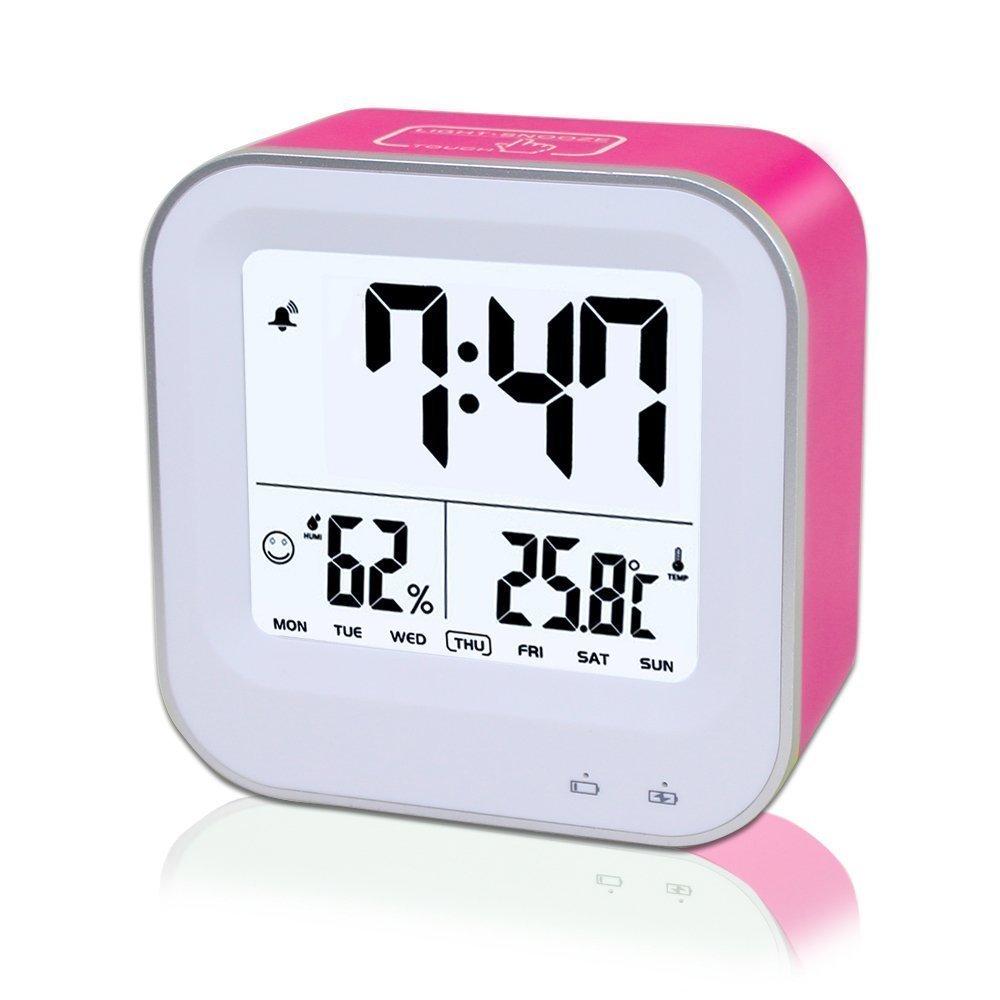Misuratore di umidità, camera da letto 3in1multifunzione ricaricabile, sveglia, sveglia con 12H o 24h/temperatura (C/F)/umidità/settimana display, funzione snooze/Smart Nightlight Rose Red feifuns