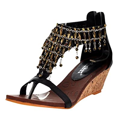6580e369619 Carol Shoes Women s Fashion Western High Heel Wedge Beaded Thong Sandals  (2