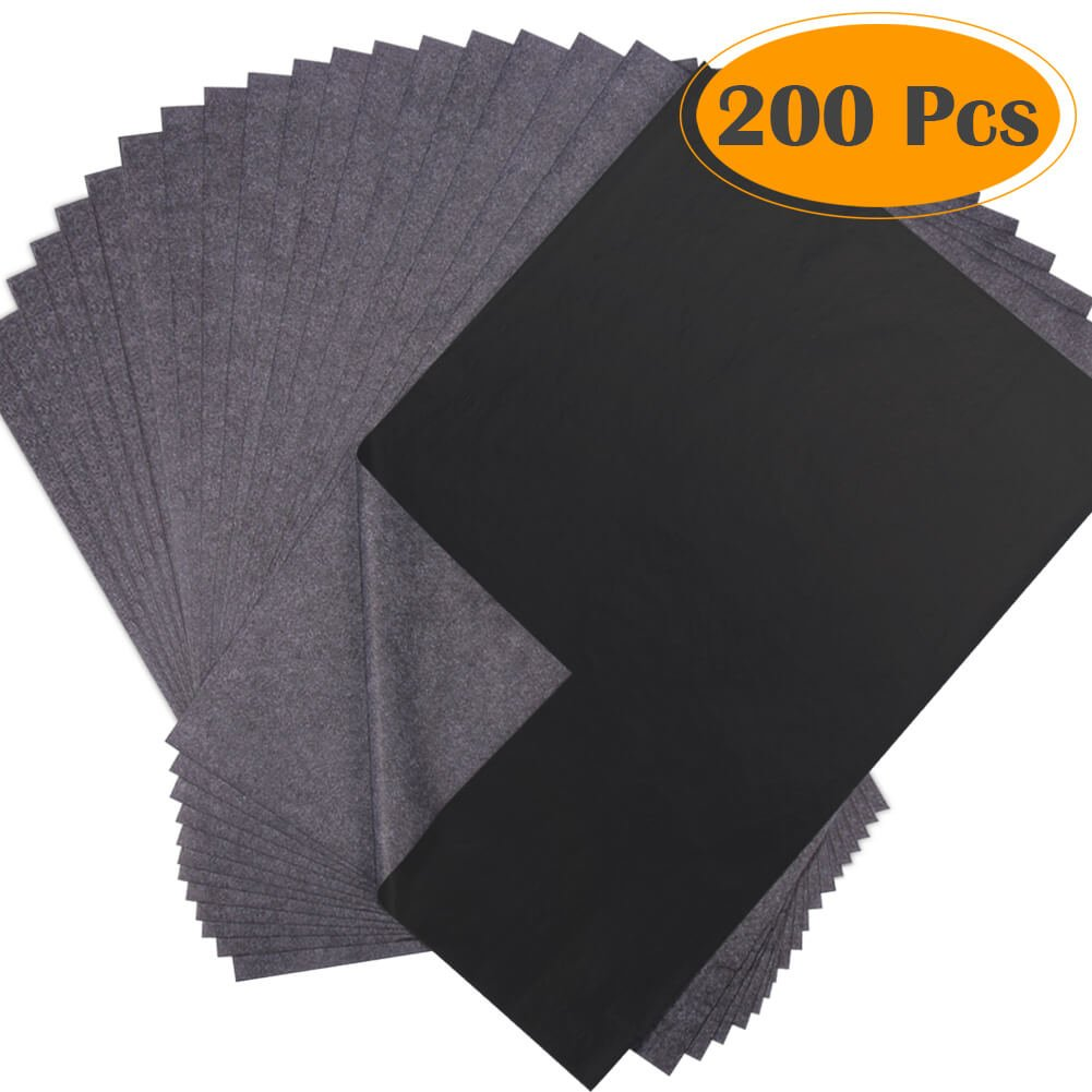 Selizo 200 Sheets Black Carbon Transfer Tracing Graphite Paper for Wood, Paper, Canvas and Other Art Surfaces (9 x 13 Inches)