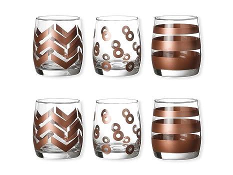 Color cobre 25 cl – – Juego de 6 vasos bajos diseños – Casting – Bruno