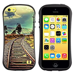 Suave TPU GEL Carcasa Funda Silicona Blando Estuche Caso de protección (para) Apple Iphone 5C / CECELL Phone case / / Railroad Nature Vignette Meaning Deep /