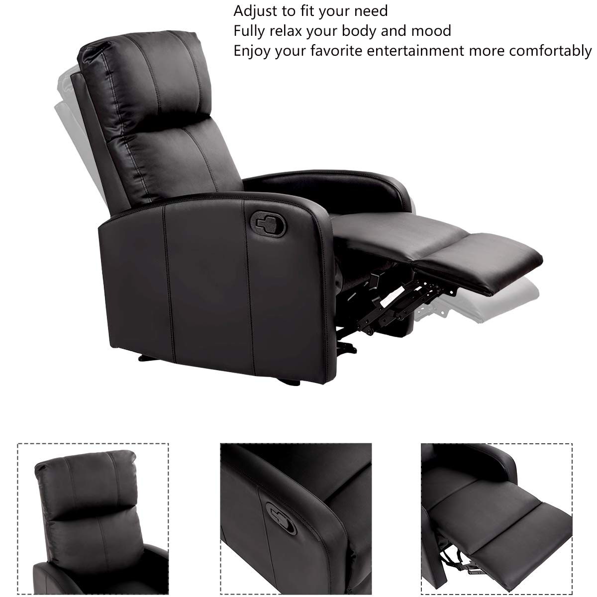 Giantex modern leather recliner chair pushback single padded seating chaise couch manual reclining living room furniture home theater ergonomic lounger sofa
