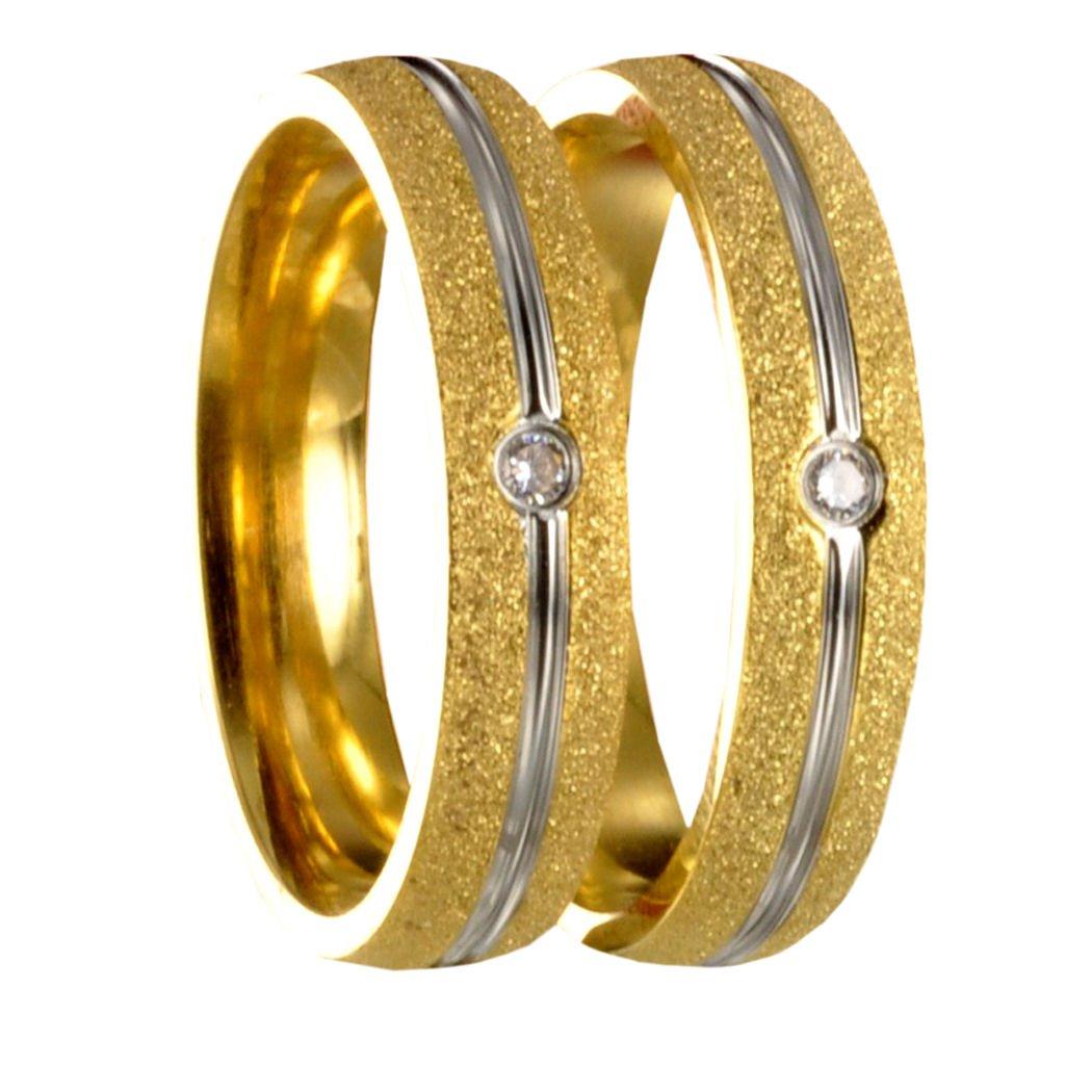 silber Partnerringe Eheringe Trauringe Gravur 50170 2 Edelstahl bicolor gold