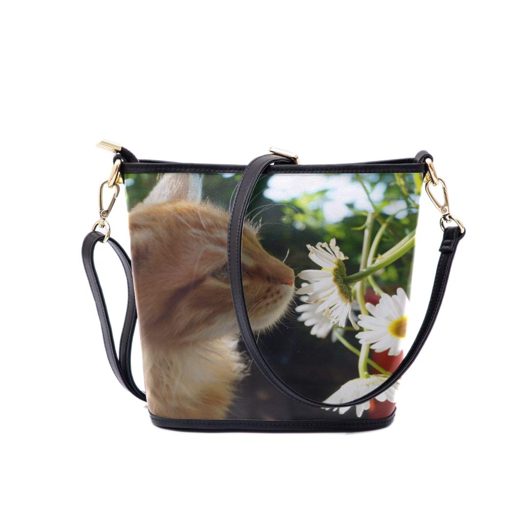 Bag Men Shoulder Cat Smell Of Beautiful Flower Multi-functional Wristlet Zipper Pocket Small Wristlet Mens Messenger Crossbody Bag Womens Fashion Bags Fashion Bags For Girls