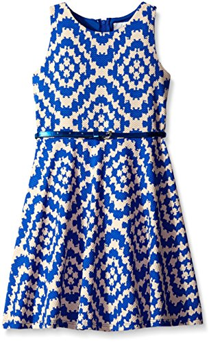 Rare Editions White Dress (Tween Diva Big Girls' Blue / Off White Geo Print Casual Dress, Blue/Off White, 7)