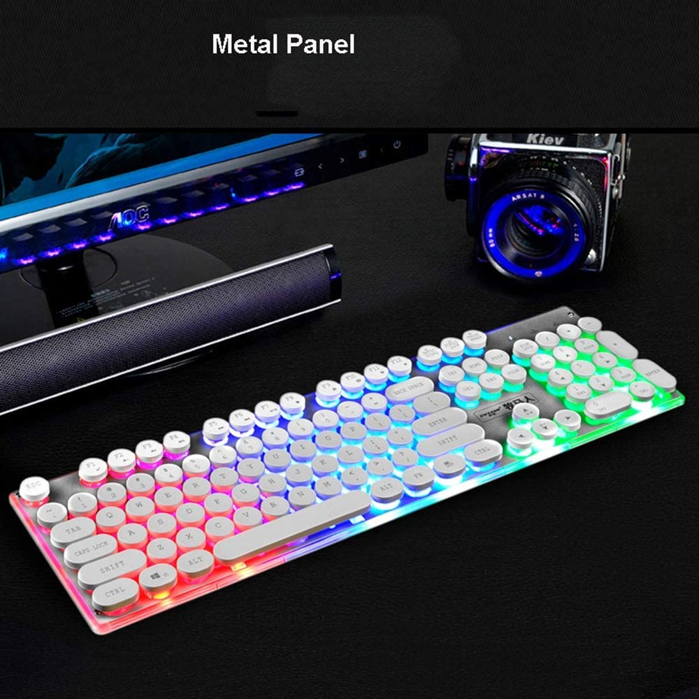 Color : White Mechanical Feel Retro Round Keycap Rainbow Backlight Multimedia Ergonomic USB Wired Optical Keyboard for PC Laptop//Computer Office Keyboard Portable Gaming Keyboard Gaming Keyboard