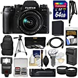 Fujifilm X-T1 Weather Resistant Digital Camera & 18-55mm XF Lens + VG-XT1 Grip + 64GB Card + Case + Flash + Battery & Charger + Grip + Tripod + Tele/Wide Lens Kit