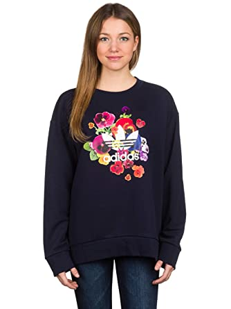 adidas Originals Womens Womens Floral Sweatshirt in Navy - 8  adidas ... bca052f713d4
