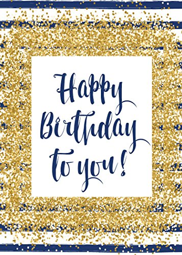 Birthday Greeting Cards - B1704. Business Greeting Card Featuring a Birthday Message With a Golden Confetti and Navy Stripe Design. Box Set Has 25 Greeting Cards and 26 Bright White Envelopes.