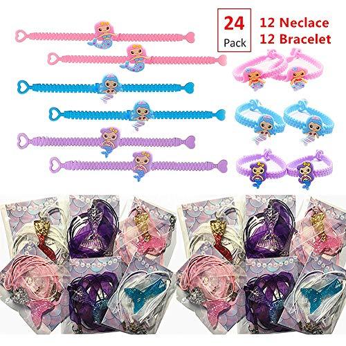 EIXJA 24 Packs Mermaid Party Favors, 12 Mermaid Tail Necklace+12 Mermaid Bracelet Kit ,Mermaid Birthday Party Supplies for Girls, Perfect Mermaid Gifts