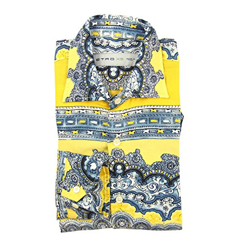 Etro New Yellow Paisley Slim Shirt