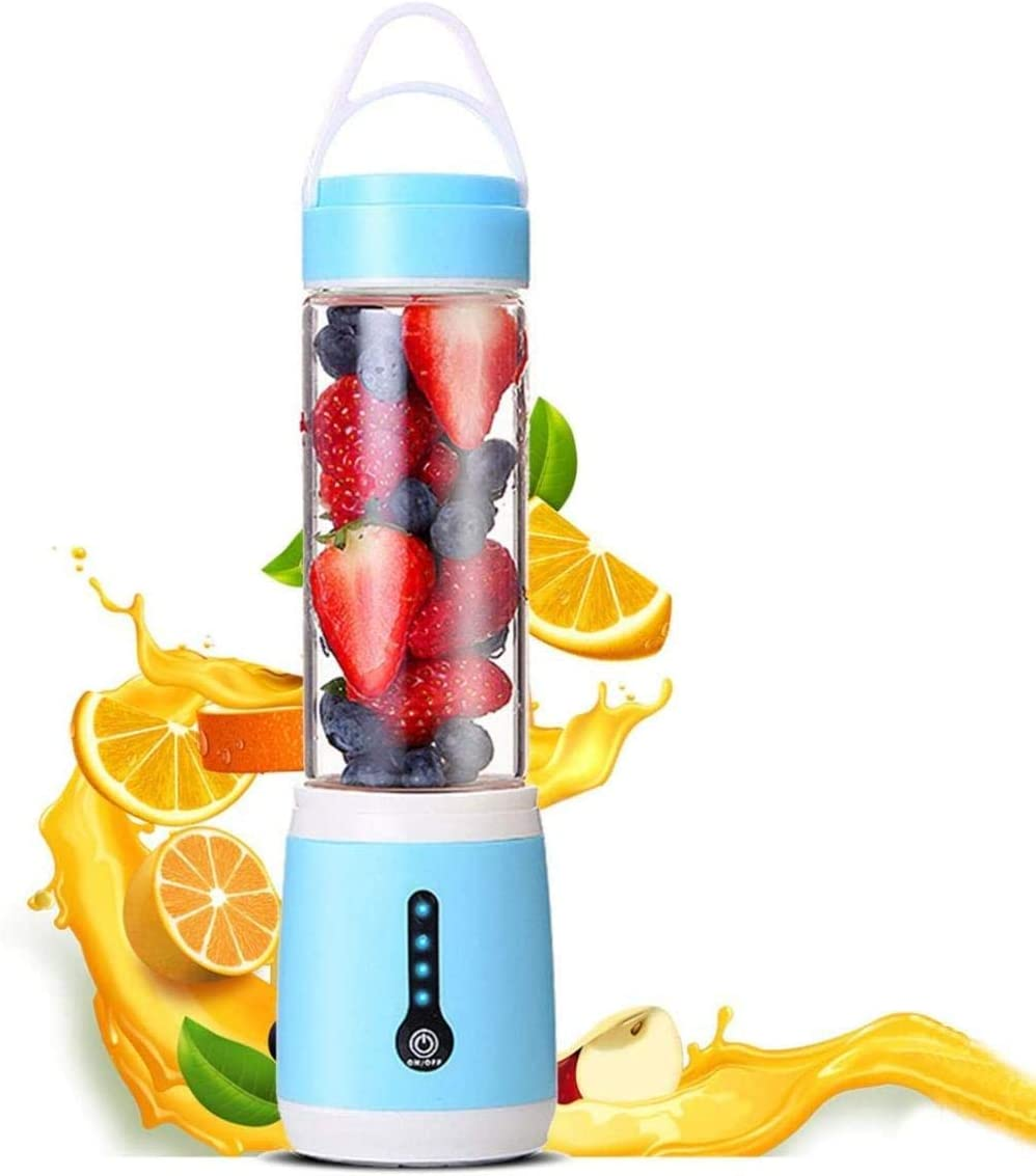 ASDASD Mini licuadoras Exprimidor portátil Batidora de Mano USB Recargable Pequeñas Frutas y Verduras Batidos de Mezcla Oficina Hogar Botella de Viaje Verde-Azul