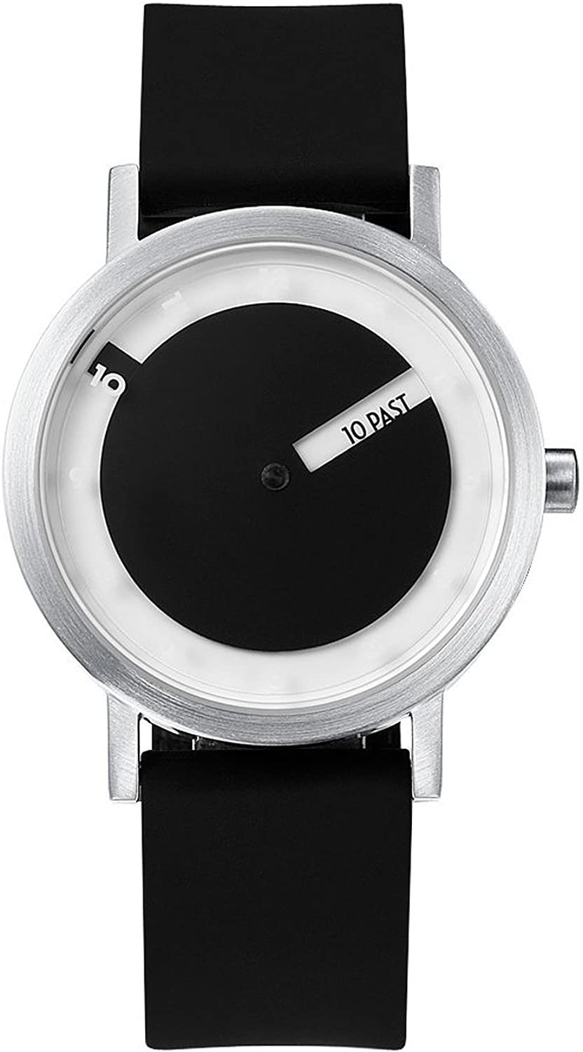 Projects Men Stainless Steel Silicone Till Watch w Steel Face Black