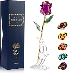 24K Gold Rose Purple Fresh Rose Dipped in 24 Karat Gold, Natural Shape Rose Flower Gift for Her on Birthday Wedding Anniversary Graduation Housewarming Apology or Thankfulness, Purple With Rose Stand