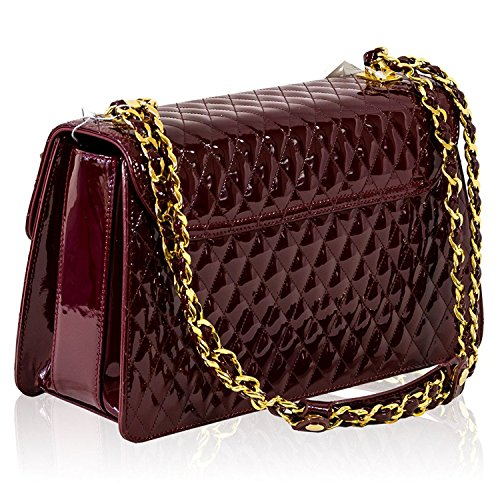 Messenger Burgundy Valentino Leather Italian Bag Purse Orlandi Quilted Designer p0w0trq