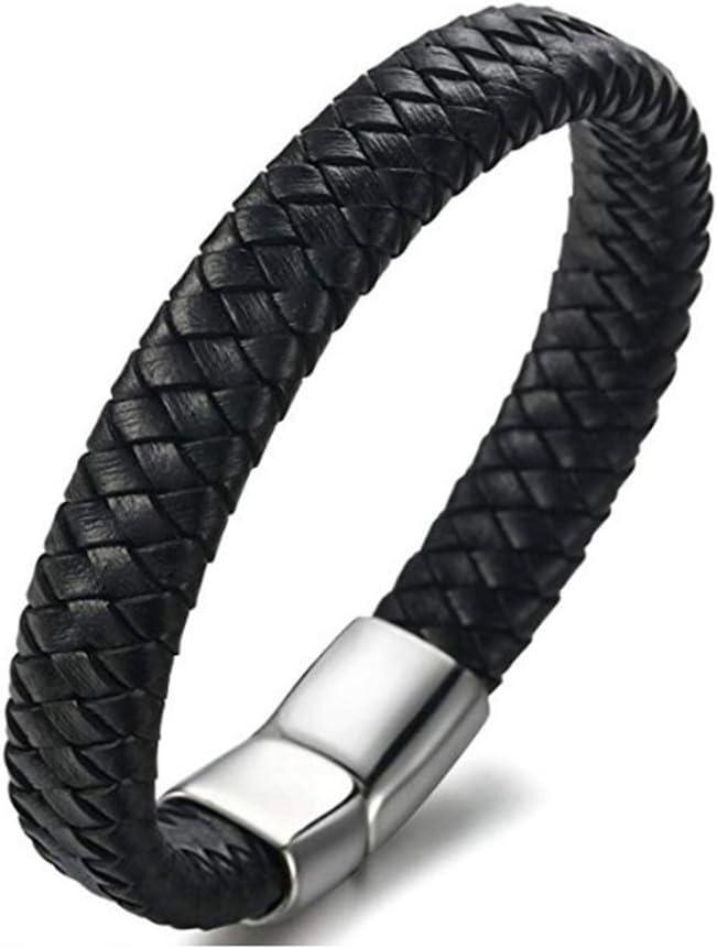 AIUIN 1/x Retro Bracelet Boucle Magn/étique du Socle de Alliage Bracelet en Cuir tress/é pour Hommes Bracelet d/écorative