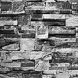 Akea Modern Faux Stone Wallpaper, Waterproof Vinyl Wallpaper Roll, Home Decor for Bedroom, Living room etc. Size: 20.8inch x 32.8ft, 57 sq.feet, Grey