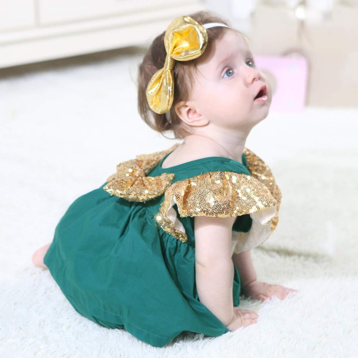 42ee00b9ab8 Amazon.com  YOHA Baby Girls Sequins Romper Bow Headband Set Newborn  Birthday Dress Outfit  Clothing