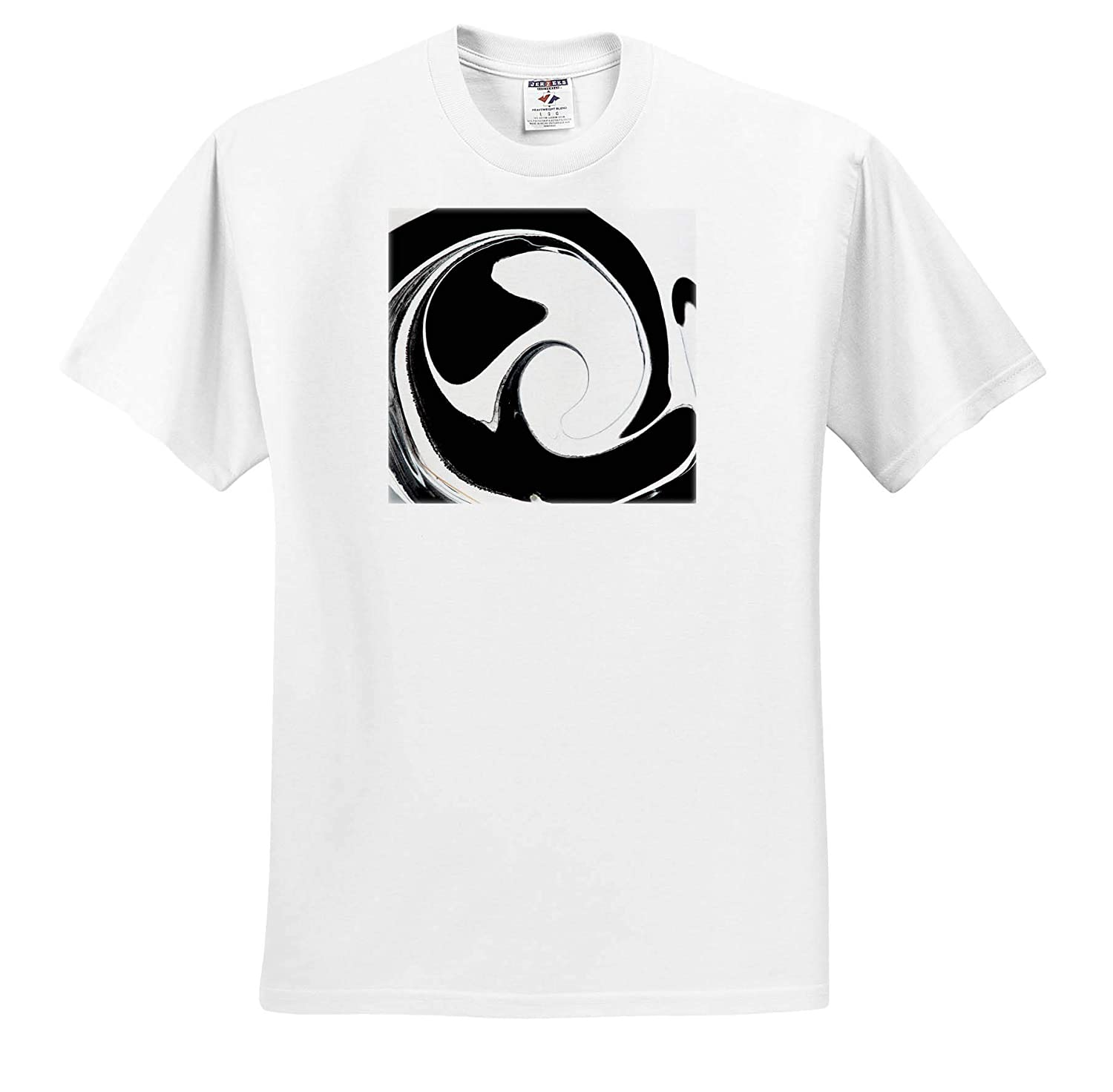 Macro Photograph of Black and White Paint Swirls Abstract - Adult T-Shirt XL ts/_319120 3dRose Stamp City
