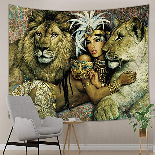 Animal Safari Wall Hangings - NYMB Will Animals Tapestry, Lion and Girs Safari Theme Tapestry Wall Hanging, Tapestry Wall Art Hanging for Bedroom Living Room Dorm, 71 X 60 inches Wall Blankets Home Decor