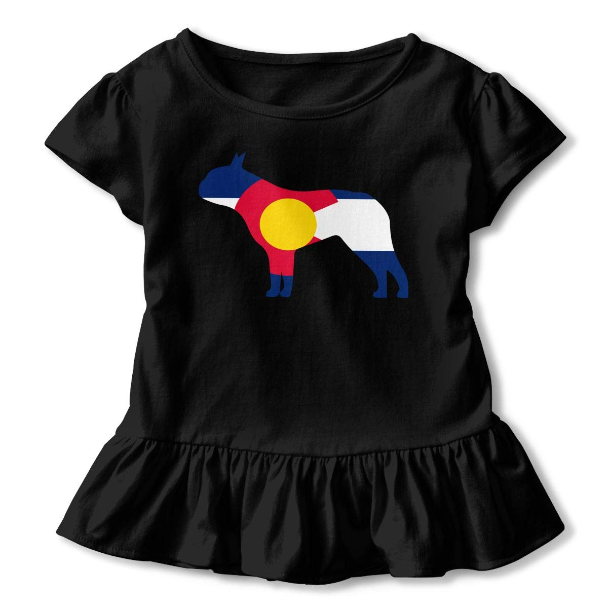 Clarissa Bertha Boston Terrier Dog Colorado Flag Toddler Baby Girls Short Sleeve Ruffle T-Shirt