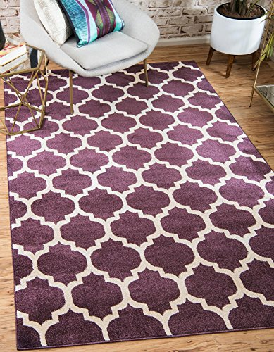 Unique Loom Trellis Collection Moroccan Lattice Purple Area Rug (9' x 12') ()