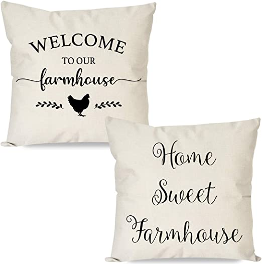 Amazon Com Pandicorn Set Of 2 Farmhouse Pillow Covers 18x18 With Words Welcome To Our Farmhouse Home Sweet Farmhouse Rustic Black And Cream Throw Pillow Cases For Couch Outdoor Porch Home Kitchen