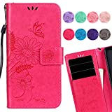 LEMORRY Samsung Galaxy A5 (2017) Case Leather Flip Wallet Pouch Slim Fit Bumper Protection Magnetic Strap Stand Card Slot Soft TPU Cover for Galaxy A5 (2017) A520F, Love of Flower (Pink)