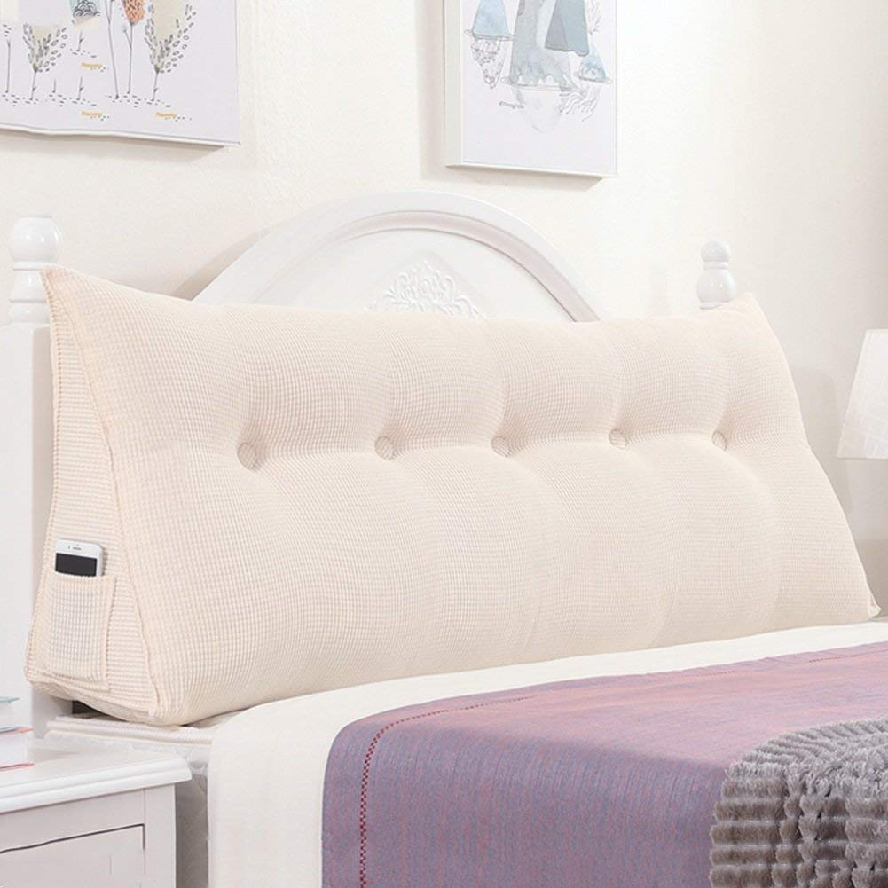 White 150 x 22 x 50cm Backrest Bed Cushion Triangular Back Cushion Large Headboard Reading Pillow ,for Single Double Bedroom (color   bluee, Size   120 x 22 x 50cm)