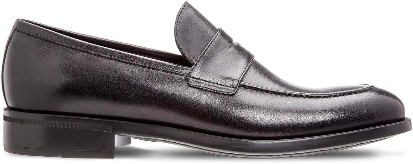 Moreschi Black Buffalo Leather Sligo Loafer Shoes