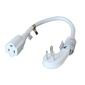 FIRMERST 1875W Low Profile Flat Plug 1ft Extension Cord 14AWG 15A White