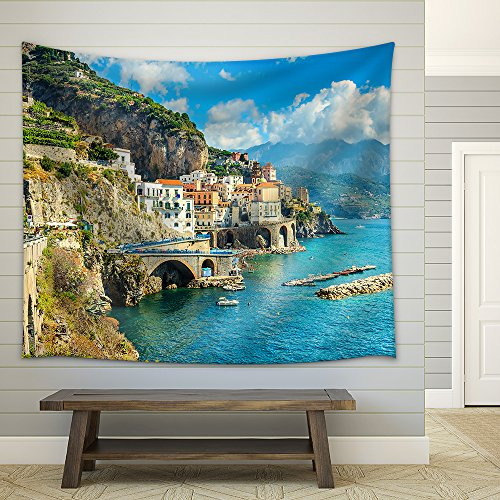 Beautiful Bay and Famous Resort of Amalfi Campania Region Italy Europe Fabric Wall Tapestry