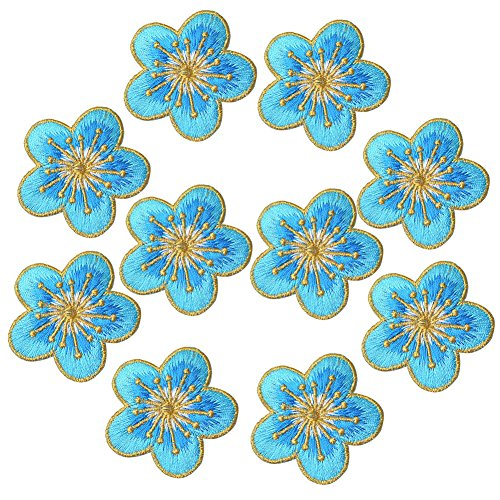 XUNHUI Patch Blue Small Flower Embroidered Patches Iron on Clothing Sticker for Clothes Badge Patch Embroidered Appliques DIY 10 Pieces (Patch Flower Case)