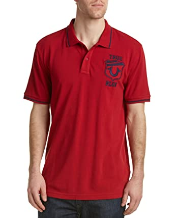 4737bcfa True Religion Men's Mesh Pique Stripe Detail Logo Short Sleeve Polo Shirt  (Large, Ruby