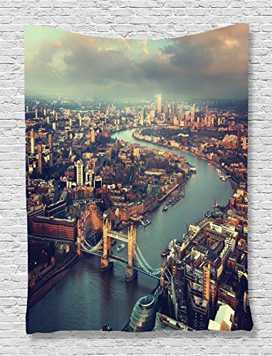 Urban Tapestry London View Decor by Ambesonne, Panoramic Picture of Thames River and Tower Bridge Picture Print, Bedroom Living Kids Girls Boys Room Dorm Accessories Wall Hanging Tapestry, Teal Cream (Bridge London Picture)