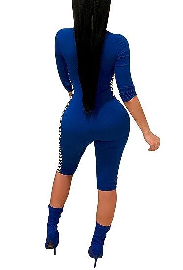 cf3721b8f5ca Amazon.com  Remelon Womens Front Zipper Bodycon Checkered Race Short Capri  Jumpsuits Rompers  Clothing