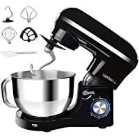 MIC Electric Stand Mixer, Dough Mixer 1100W, 6 Speeds Food Mixer Dough Blender, 5.5 Litre Stainless Steel Mixing Bowl with Splash Guard - Includes Beater, Dough Hook & Whisk, Noise 75 db, Black