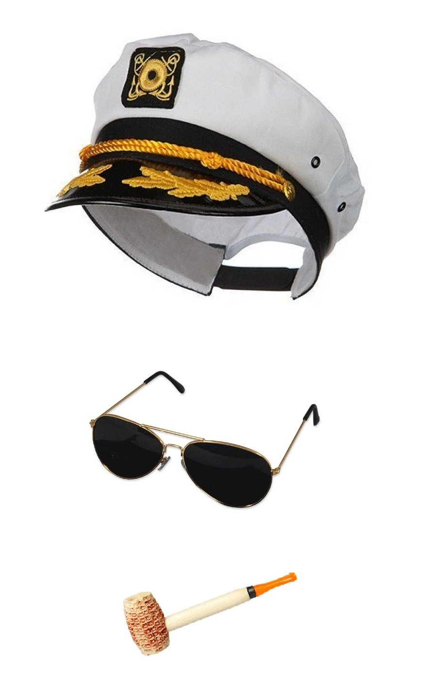 White Sailor Ship Yacht Captain Hat Corn Cob Pipe Aviator Sunglasses Costume Set