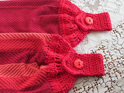 (Set of 2 Red Doubled Chevron Design Hanging Kitchen Towels with Red Cotton Crochet Top - Best Quality)
